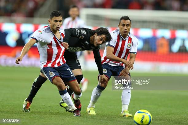 Orbelin Pineda of Chivas fights for the ball with Erick Gutierrez of Pachuca during the 8th round match between Chivas and Pachuca as part of the...
