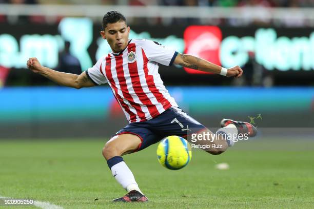 Orbelin Pineda of Chivas kicks the ball during the 8th round match between Chivas and Pachuca as part of the Torneo Clausura 2018 Liga MX at Akron...