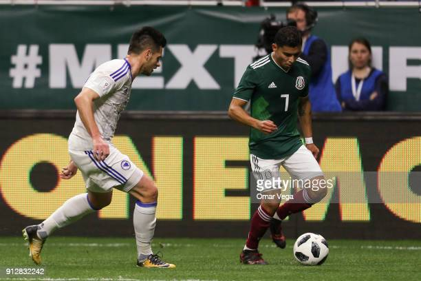 Orbelin Pineda of Mexico drives the ball during the friendly match between Mexico and Bosnia and Herzegovina at Alamodome Stadium on January 31 2017...