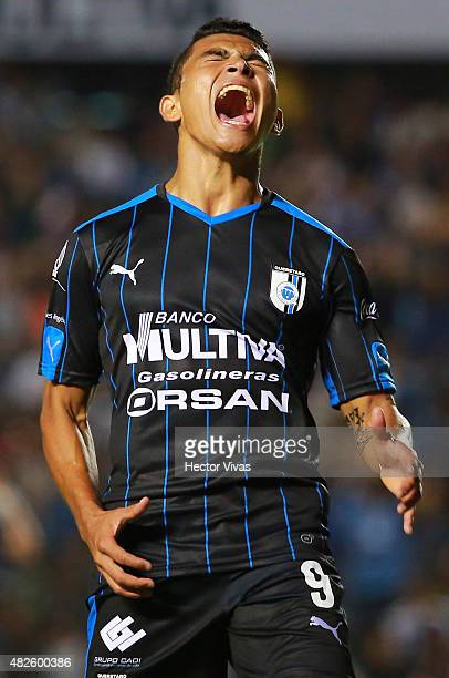Orbelin Pineda of Queretaro reacts after missing a chance during a 2nd round match between Queretaro and Pachuca as part of the Apertura 2015 Liga MX...