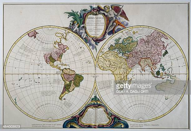 Orbis Vetus doublehemispherical world map engraving Baudet Paris France 18th century