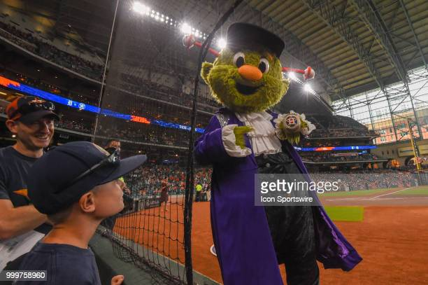 'Orbit' sports an Astros World Series Championship ring before the baseball game between the Detroit Tigers and the Houston Astros on July 15 2018 at...