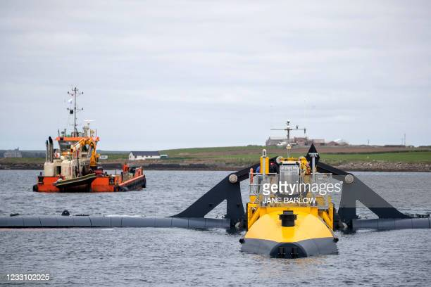 Orbital Marine Power's O2 tidal energy turbine is pictured off the coast of Orkney, at the European Marine Energy Centre in Orkney on May 25 during...