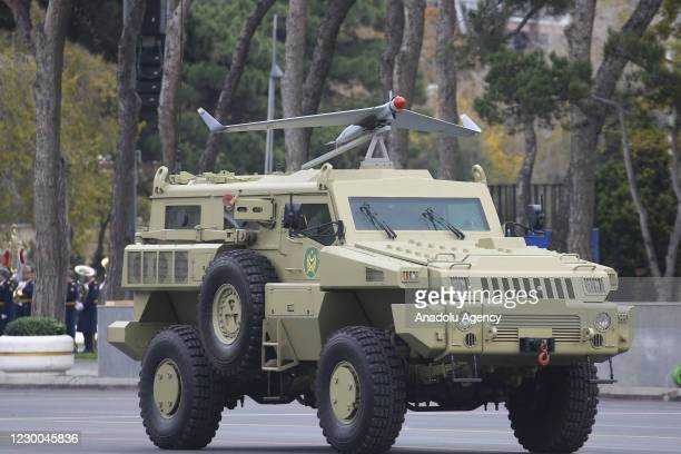 Orbiter-1K unmanned aerial vehicle is displayed during the Victory Parade held to celebrate Azerbaijani army's victory in Nagorno-Karabakh at Azadliq...