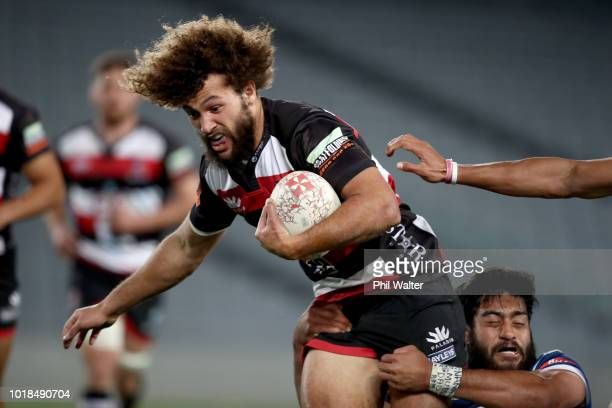 Orbyn Leger of Counties is tacked by Akira Ioane of Auckland during the round one Mitre 10 Cup match between Auckland and Counties Manukau at Eden...