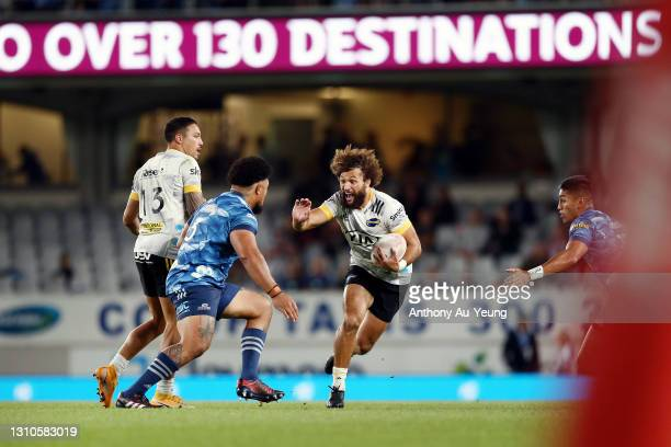 Orbyn Leger of the Hurricanes makes a run at Ofa Tuungafasi of the Blues during the round 6 Super Rugby Aotearoa match between the Blues and the...