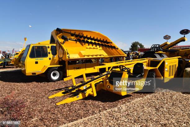 Orchard Machinery Corporation display a variety of product movers and shakers during the 51st World Ag Expo on February 13 2018 at the International...
