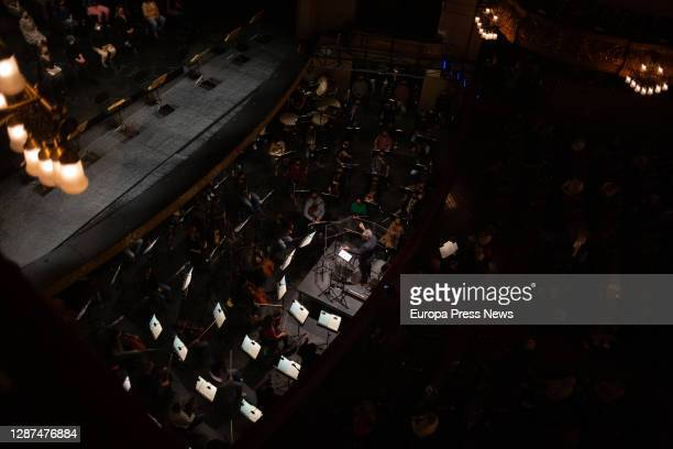 Orchestra conductor Josep Pons performs John Cage's symphony 4'33 during the rehearsal of 'La Traviata' in the Liceu with piano soloists and its...