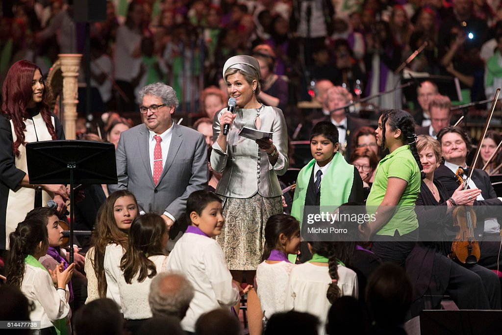 Queen Maxima Of The Netherlands Attends Ten Year Anniversary Of 'Leerorkest' Learning Orchestra : News Photo