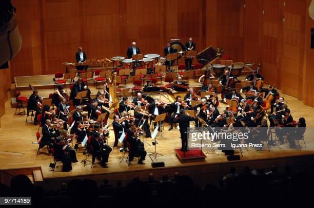 Orchestra of Accademia Nazionale of Santa Cecilia of Rome conduced by Maestro Antonio Pappano performs at Auditorium Manzoni in the Bologna Festival...