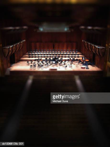orchestra on stage, elevated view - vaudeville stock pictures, royalty-free photos & images