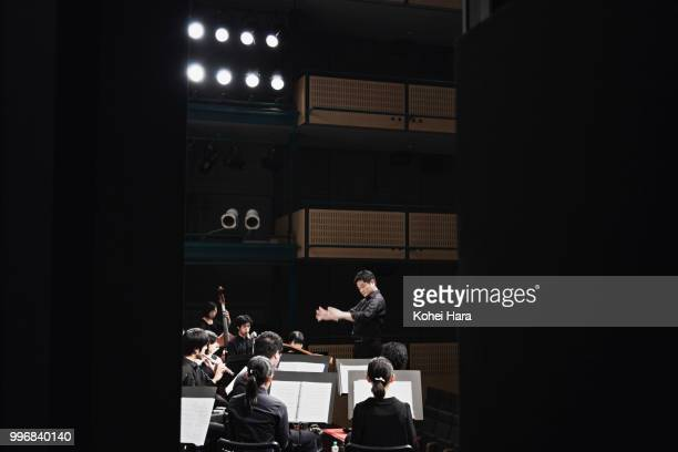 Orchestra playing musical instruments at concert hall