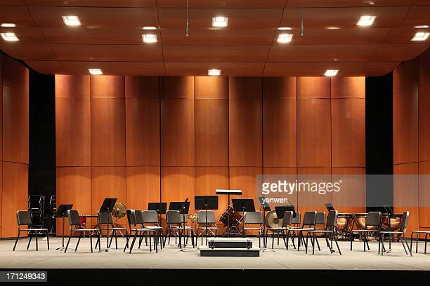 orchestra seats on stage - concert hall stock pictures, royalty-free photos & images