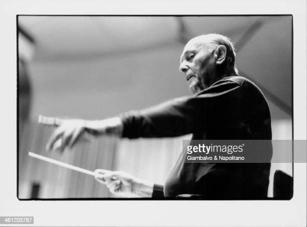 Orchestral conductor Sir Georg Solti, circa 1985-1997.