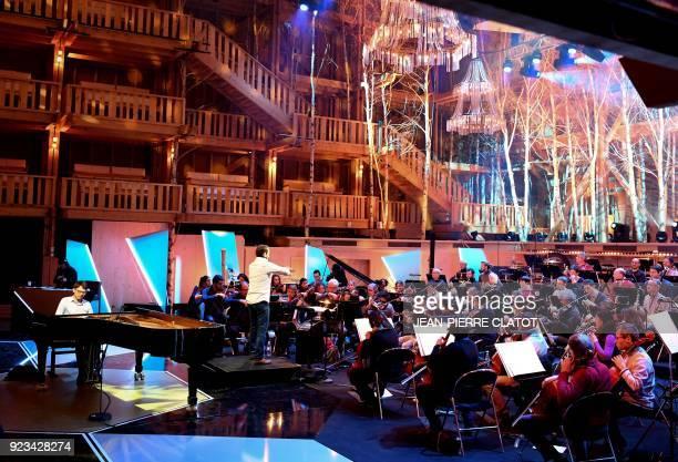 L'orchestre de l'Opera de Lyon rehearse at The Grange au Lac Auditorium ahead of the 'Victoire de la musique classique' award ceremony in Evian les...