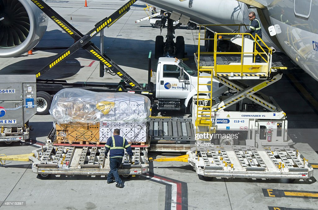 orchids being unloaded from airplane Airbus 380 : Stock Photo