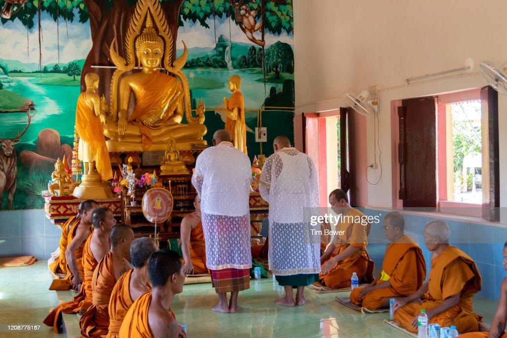 Ordaining as Buddhist monks. : Stock Photo