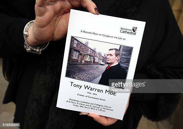 Order of service for the funeral of Coronation Street scriptwriter Tony Warren at Manchester Cathedral on March 18 2016 in Manchester England