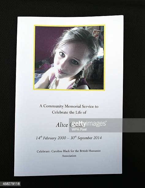 Order of services are laid out during a public memorial service in memory of murdered schoolgirl Alice Gross held at Greenford Town Hall on November...