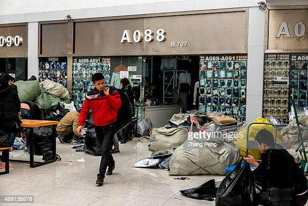 Ordered goods are packed and piled outside the booth waiting to be delivered to customers by logistics An ecommerce base in Hangzhou where...
