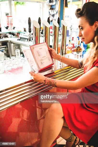 ordering at the bar counter