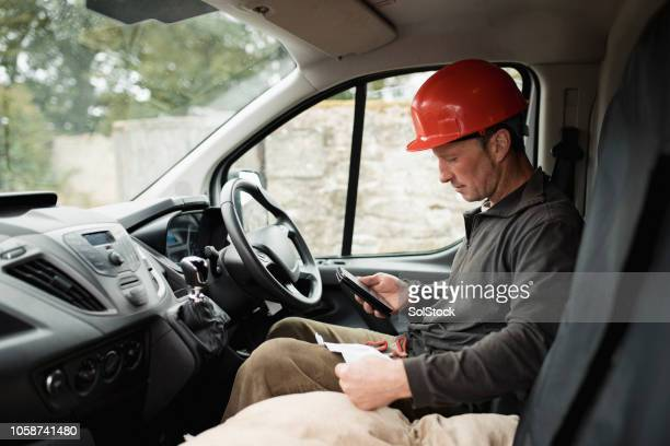 ordering materials for the job - van stock pictures, royalty-free photos & images