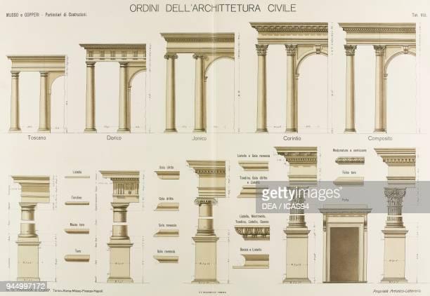 Orders of civic architecture chromolithograph from Particolari di costruzioni murali e finimenti di fabbricati Opere Muratorie by Giuseppe Musso and...