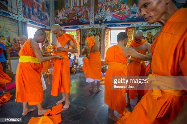 ordination ceremony in thailand - religious event stock pictures, royalty-free photos & images