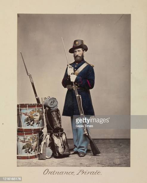 Ordnance, Private Albumen silver print from glass negative, Image: 20.2 x 15 cm , Photographs, Attributed to Oliver H. Willard , This hand-colored...
