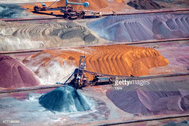 ore and conveyor belt aerial - coal mining stock photos and pictures