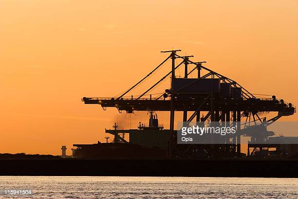 Ore terminal with sunrise