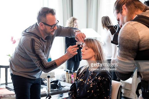 Oreal ambassador Heike Makatsch is seen before an interview during the 66th Berlinale International Film Festival Berlin on February 11 2016 in...