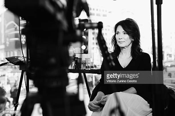 L'Oreal ambassador Iris Berben is seen during the 66th Berlinale International Film Festival Berlin at the L'Oreal Cocobello styling studio on...