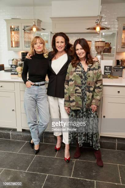 L'Oreal brand ambassadors Heike Makatsch Andie MacDowell and Iris Berben attend a photo call at L'Oreal Worth It cafe on February 7 2019 in Berlin...