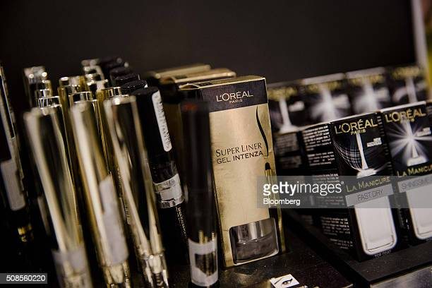 L'Oreal cosmetic products sit on display in a department store in Paris France on Tuesday Jan 26 2016 Hints of investor optimism in Europe were...