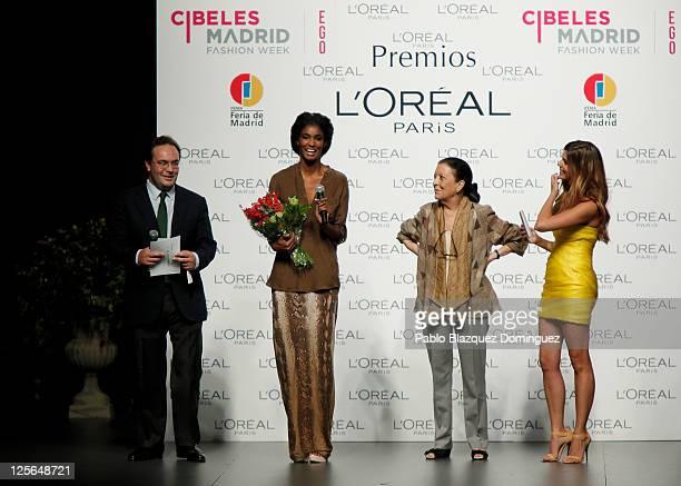 L'Oreal Director Jean Baptiste Dalle model Sessilee Lopez Cuca Solana and Manuela Velasco attend the L'Oreal Awards at the Cibeles Madrid Fashion...