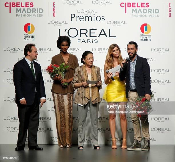 L'Oreal Director Jean Baptiste Dalle model Sessilee Lopez Manuela Velasco Cuca Solana and Spanish designer Juanjo Oliva attend the L'Oreal Awards at...