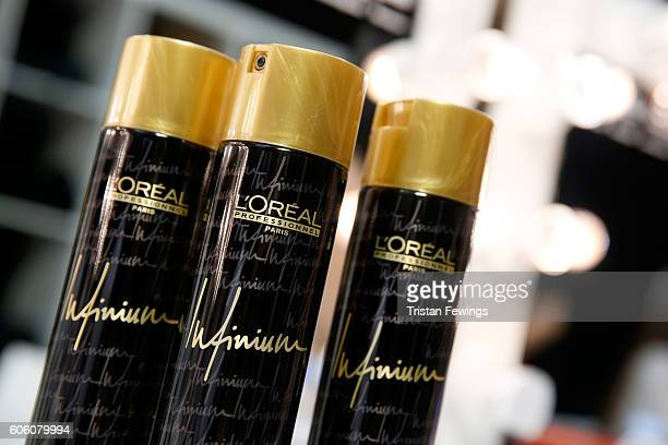 Oreal hairspray cans seen backstage prior the Eudon Choi show during London Fashion Week Spring/Summer collections 2017 on September 16 2016 in...