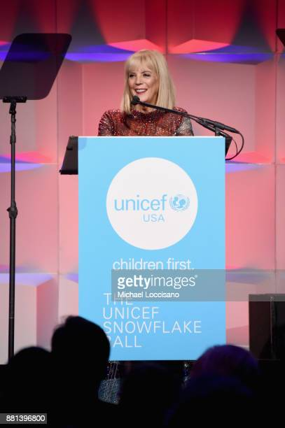 Oreal Luxe USA and Spirit of Compassion Award Honoree Carol J Hamilton speaks onstage during the 13th Annual UNICEF Snowflake Ball 2017 at Cipriani...