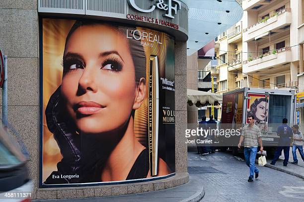 l'oreal ad with eva longoria in beirut, lebanon - famous people stock photos and pictures