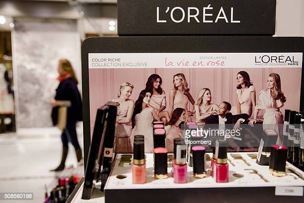 A L'Oreal nail polish display sits inside a department store in Paris France on Tuesday Jan 26 2016 Hints of investor optimism in Europe were snuffed...