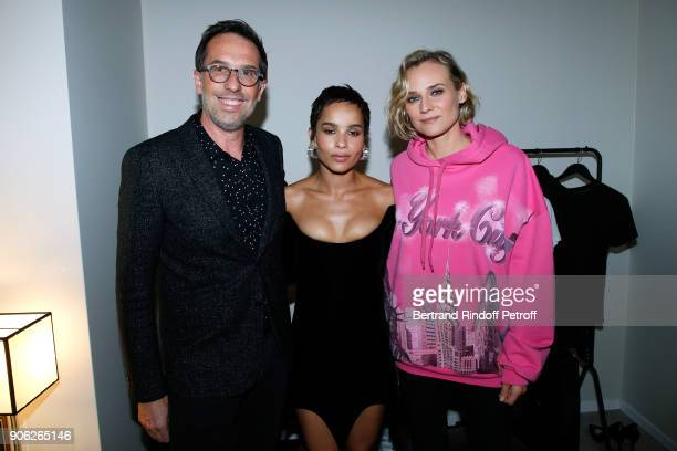 DG L'Oreal Nicolas Hieronimus YSL Beauty Makeup Ambassadress Zoe Kravitz and actress Diane Kruger attend the 'YSL Beauty Hotel' event during Paris...