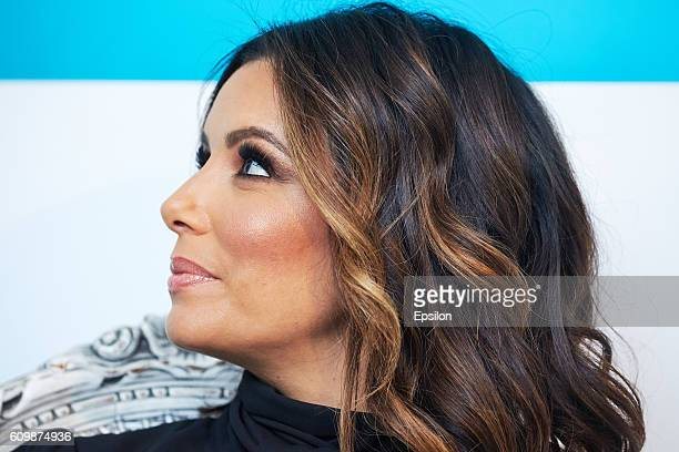 Oreal Paris Brand Ambassador Eva Longoria presents L'Oreal MAGIC RETOUCH Instant Root Concealer Spray at Royal Studio on September 22 2016 in Moscow...