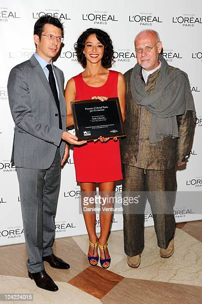 L'Oreal Paris Italia Brand General Manager Stephane Grenier actress Nicole Grimaudo and festival director Marco Muller attend the L'Oreal Paris...