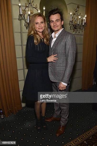Oreal Paris Spokesperson Aimee Mullins and actor Rupert Friend attend the L'Oreal Paris Women of Worth 2015 Celebration Inside at The Pierre Hotel on...