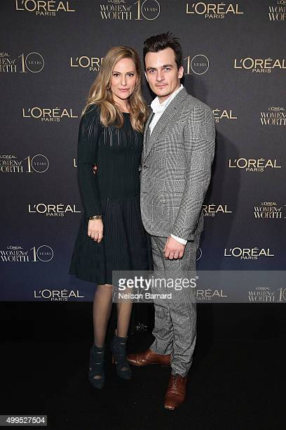 Oreal Paris Spokesperson Aimee Mullins and actor Rupert Friend attend the L'Oreal Paris Women of Worth 2015 Celebration Arrivals at The Pierre Hotel...
