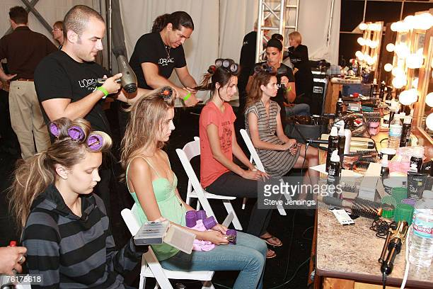 Oreal sponsers backstage at the Lexus/Vogue Fashion Preview for the CFDA/Vogue Fashion Fund Finalists show at the Pebble Beach Equestrian Center on...