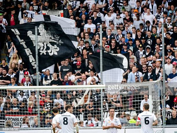 Orebro SK fans during the allsvenskan match between Orebro SK and IFK Norrkoping at Behrn Arena on May 22 2016 in Orebro Sweden