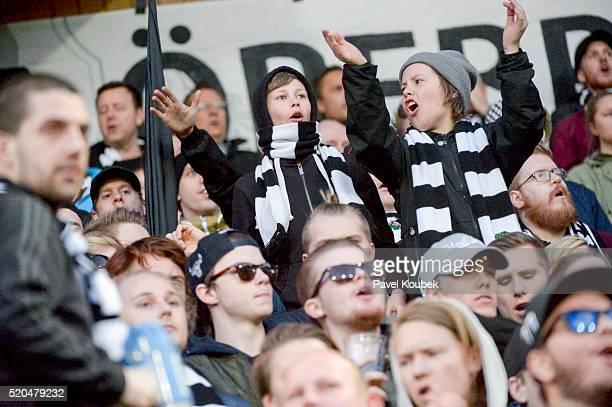 Orebro SK fans during the allsvenskan match between Orebro SK Jonkoping Sodra at Behrn Arena on April 11 2016 in Orebro Sweden