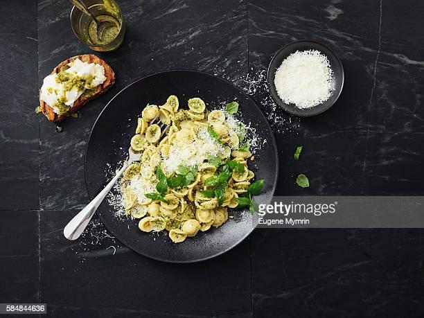 Orecchiette pasta with broccoli pesto sauce
